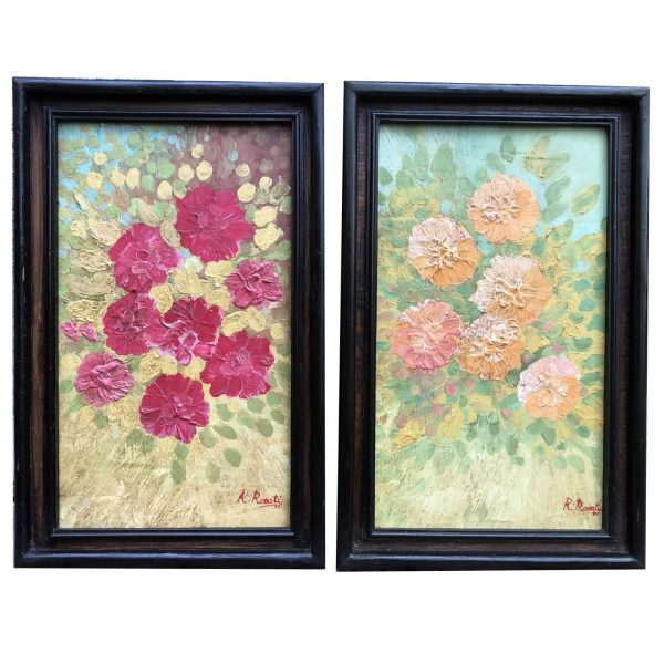 20th Century Pair of Italian Flowers Still Life Paintings Signed and Dated Rosati 1931