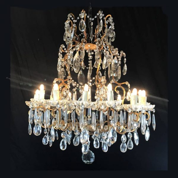 Antique Italian Fifteen-light Crystal Chandelier with Gilt Iron Frame