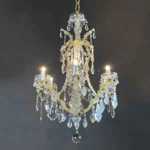 lampadario maria teresa in cristallo a 7 luci del 1950