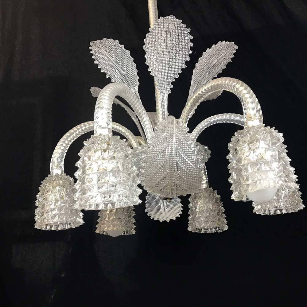 Lampadario in vetro di Murano a sei luci degli Anni 40