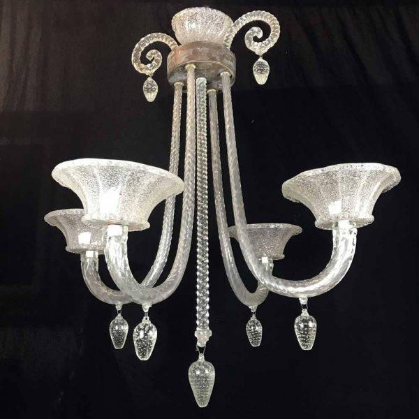 Murano Glass Four-light Chandelier 1940 Circa