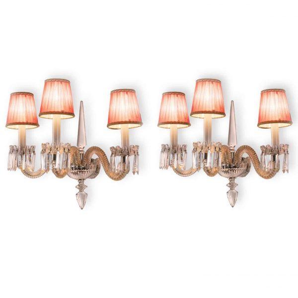 Pair of Italian Sconces 20th Century Crystal Murano Glass Three-armed Wall-lights
