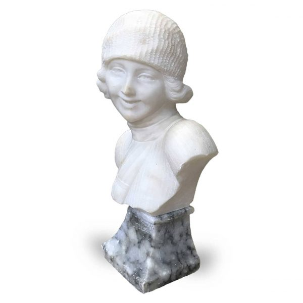 Art Deco Alabaster Female Bust Sculpture by Guerrieri