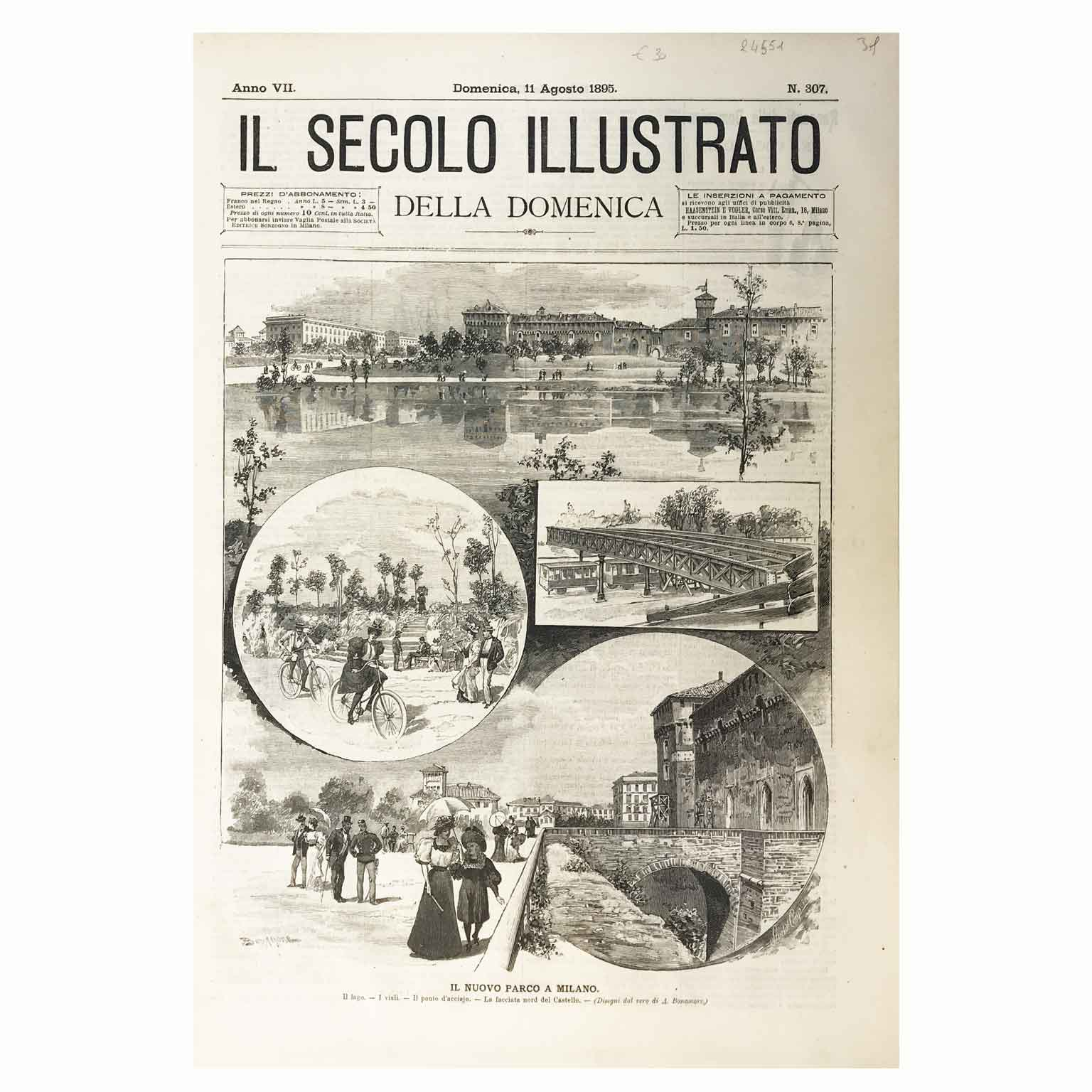 Il Parco Sempione a Milano nel 1895 dal Secolo Illustrato della Domenica