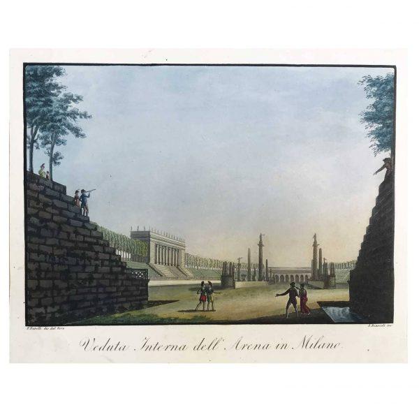 Stampa Antica con Veduta Interna dell'Arena in Milano del 1820-21