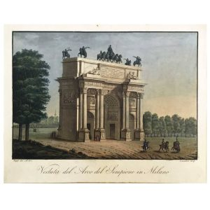 Veduta dell'Arco della Pace in Milano Acquatinta del 1820-21