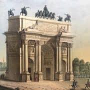Veduta dell'Arco della Pace in Milano Acquatinta del 1820-21 b