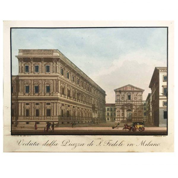Veduta della Piazza San Fedele in Bella Coloritura Coeva 1820-21