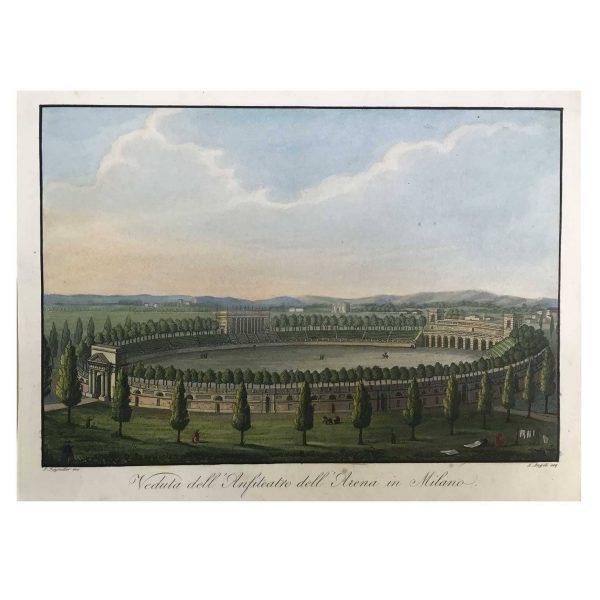 Acquatinta con Veduta dell'Anfiteatro dell'Arena in Milano del 1831