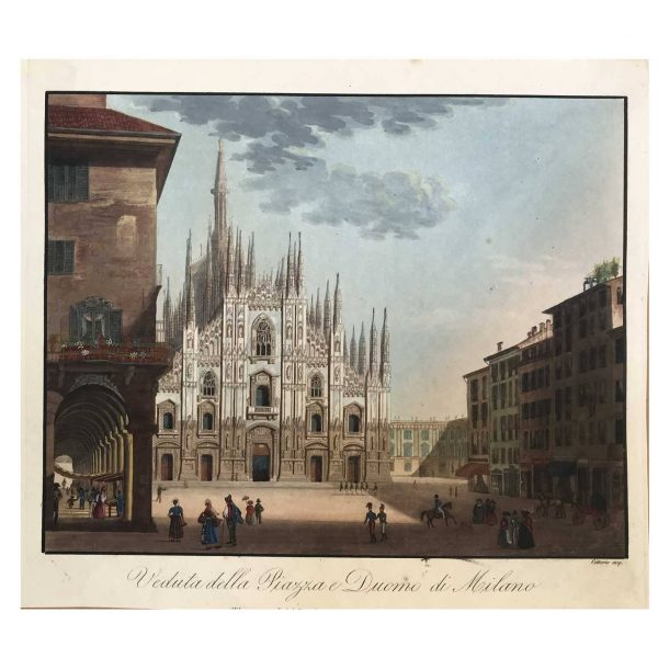 Milan Cathedral Square and the Duomo Early 19th Century Original Engraving Print