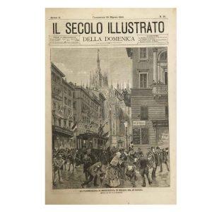 Raffigurazione della manifestazione nei pressi del Duomo nel 1890