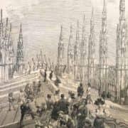 Stampa Antica Raffigurante il Ferragosto sul Duomo di Milano nel 1895 b