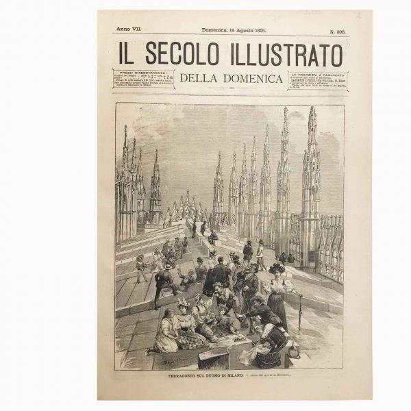 Stampa Antica Raffigurante il Ferragosto sul Duomo di Milano nel 1895