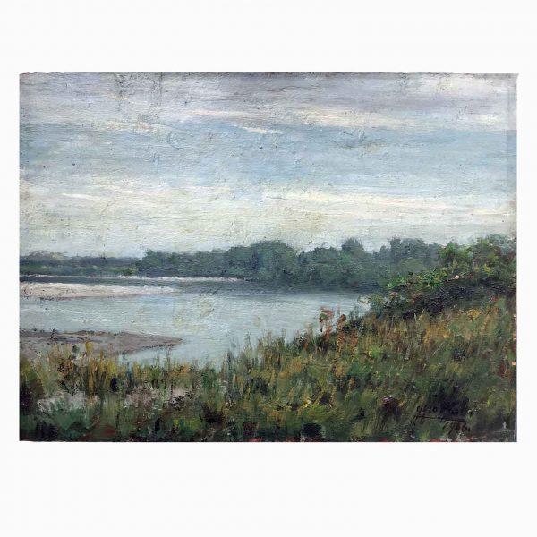 Gigi Comolli River Landscape 1946 Oil on Panel Italian Painting