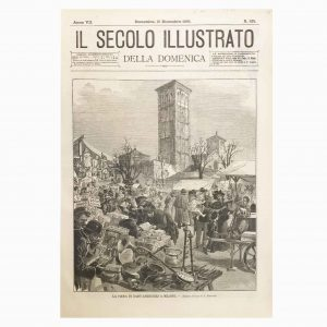 Xilografia d'Epoca con la Fiera di Sant'Ambrogio a Milano del 1895