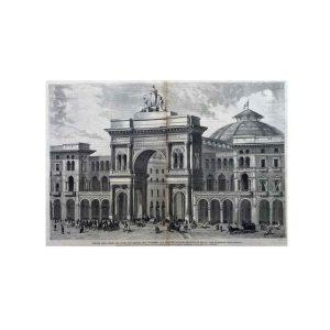 Fronte dell'Arco di Ingresso della Galleria Vittorio Emanuele a Milano 1873