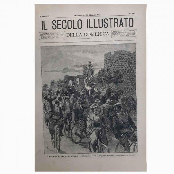 Incisione Antica con Ciclisti Davanti al Re al Convegno del Touring a Milano nel 1897