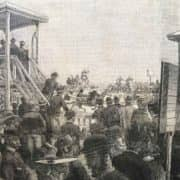 Stampa Antica con le Corse dei Cavalli ala Trotter di Milano nel 1896 b