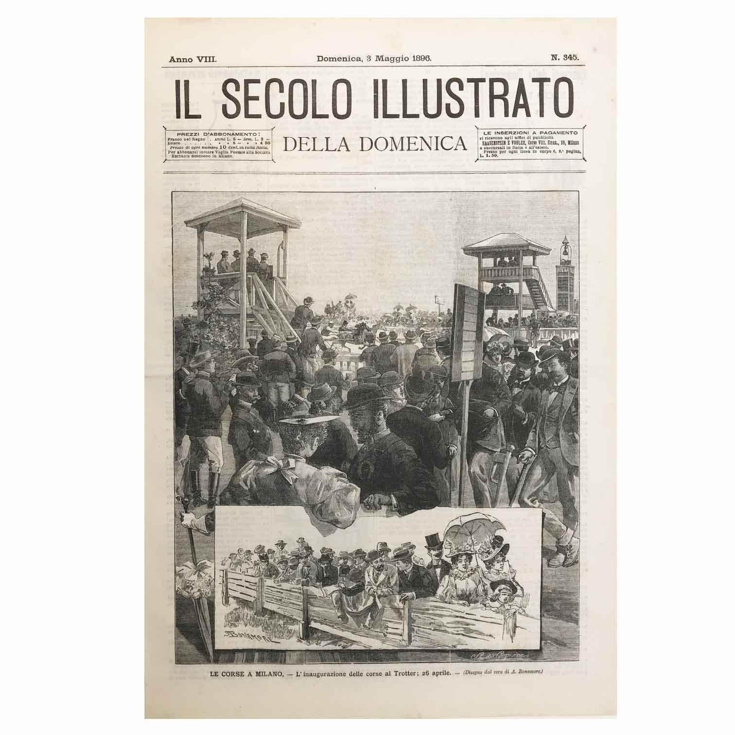 Stampa Antica con le Corse dei Cavalli ala Trotter di Milano nel 1896