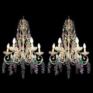 Coppia di Lampadari con Cristalli e Grappoli d'Uva color ametista in vetro di Murano,