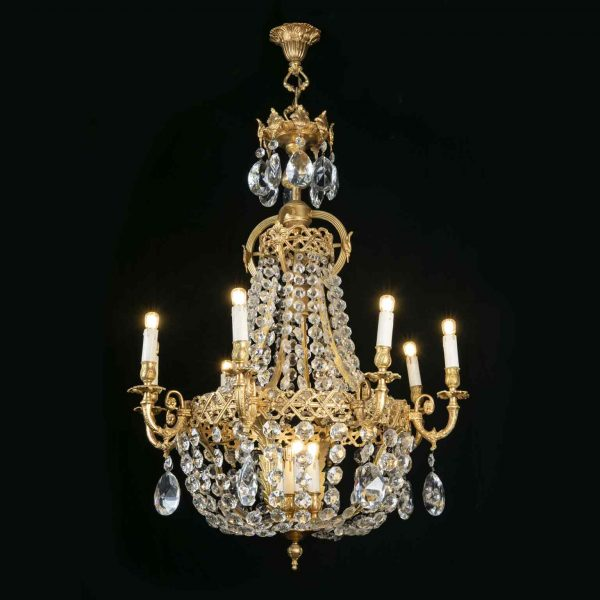 Italian Empire Style Crystal and Gilt Bronze Chandelier 1970s