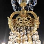 Lampadario a Mongolfiera in Bronzo Dorato e Cristallo 2