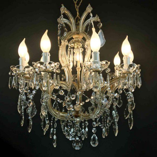 Italian Crystal Chandelier Maria Theresa Eleven-Light Pendant 1950 circa