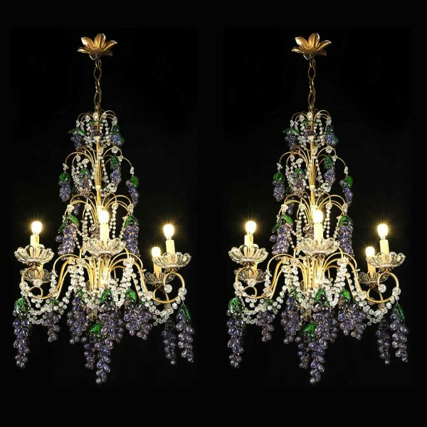 Coppia di Lampadari con Cristalli e Grappoli d'Uva