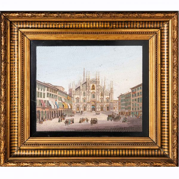 19th Century Grand Tour Micro Mosaic Milan Cathedral View Duomo di Milano