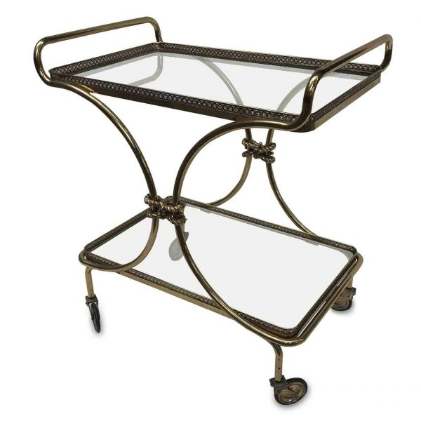 Italian Vintage Two-tier Brass Bar Cart