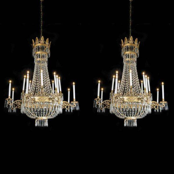Coppia  Lampadari Antichi Epoca Impero 16 Luci