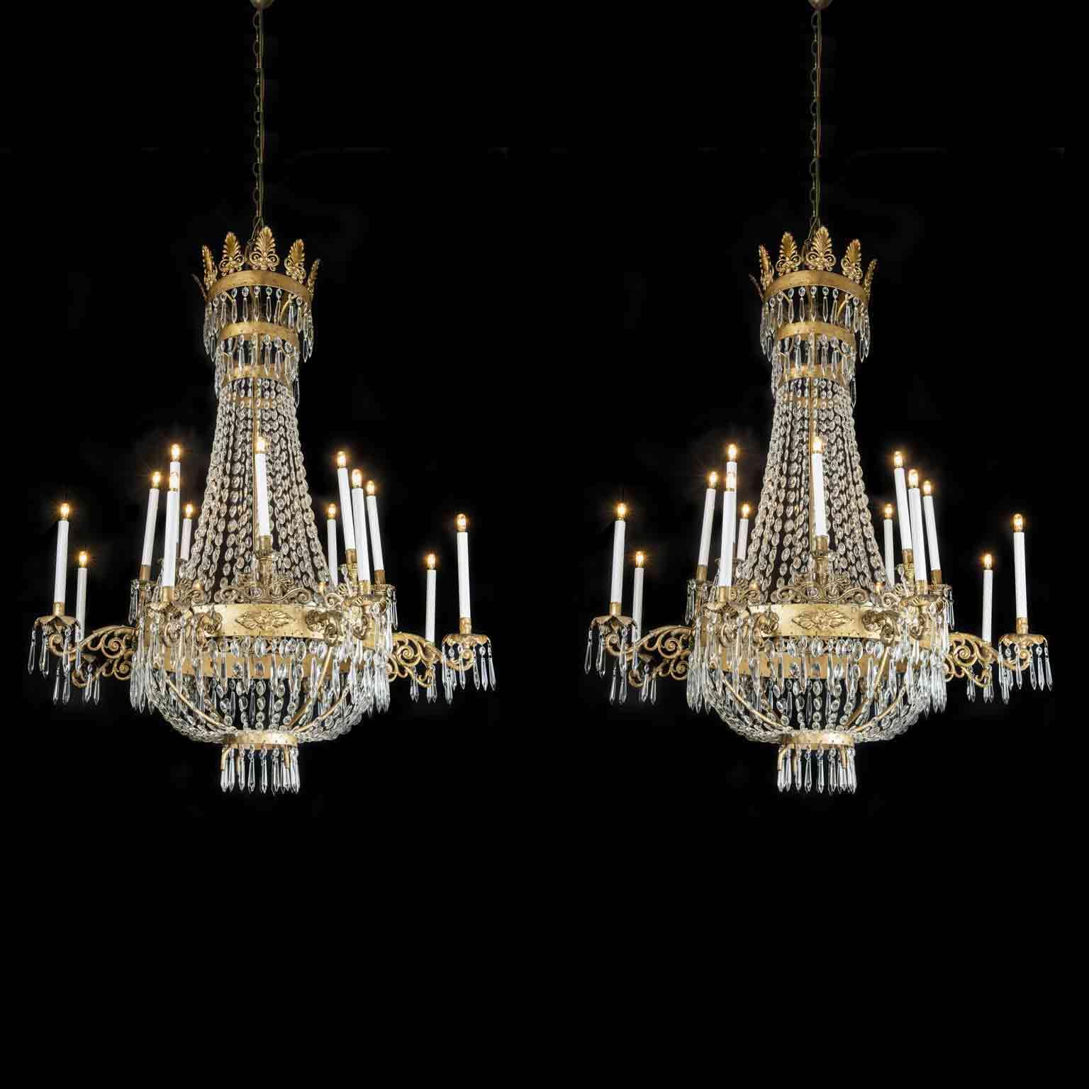 Lampadari Di Murano Antichi Prezzi.Coppia Lampadari Antichi Epoca Impero 16 Luci