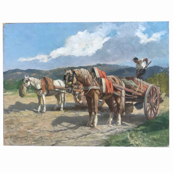 Horses with Farmer Mid-20th Century Italian Painting by Gino Danti