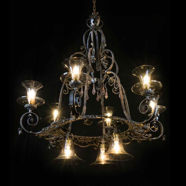 20th Century Italian Carlo Rizzarda Art Nouveau Wrought Iron Chandelier