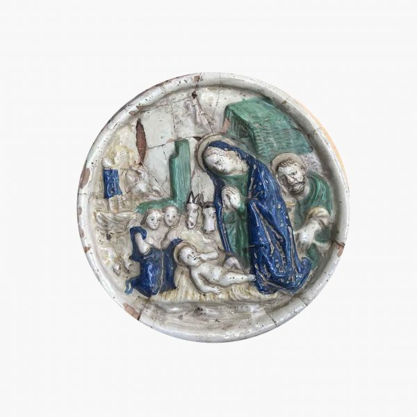 18th Century Italian Maiolica Nativity  Circular Relief Plaque