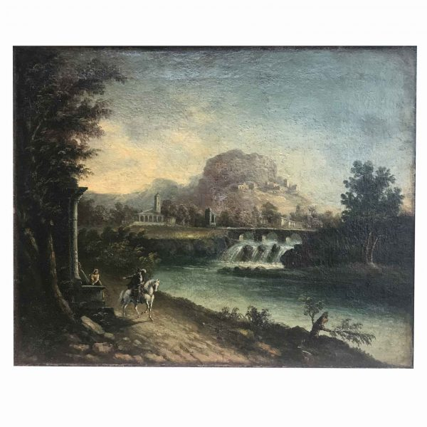 Early 19th Century Italian River Landscape with Ruins Bridge and Figures