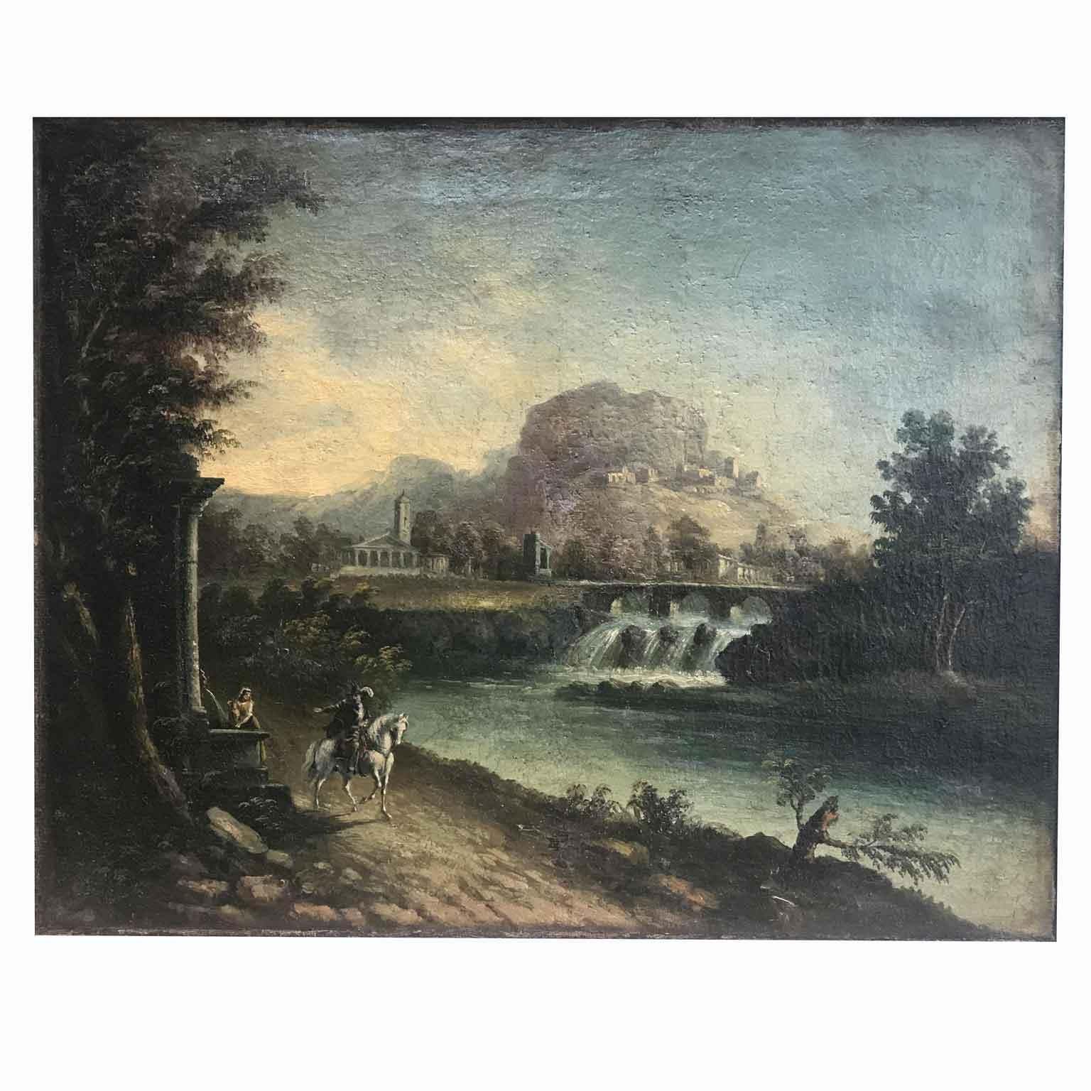 Paesaggio Fluviale con Ponte e Rovine Inizi 1800