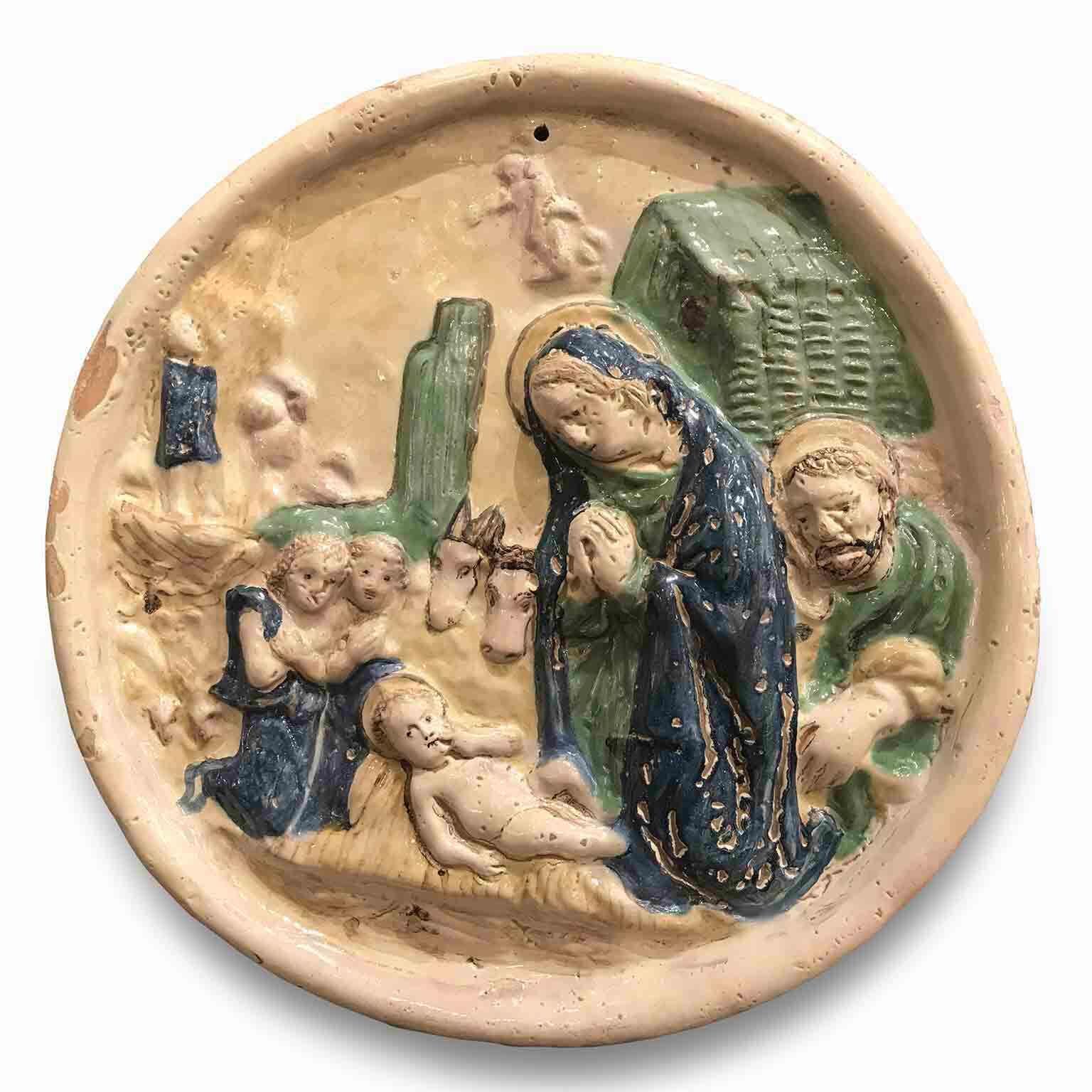 maiolica devozionale in rilievo del 1700