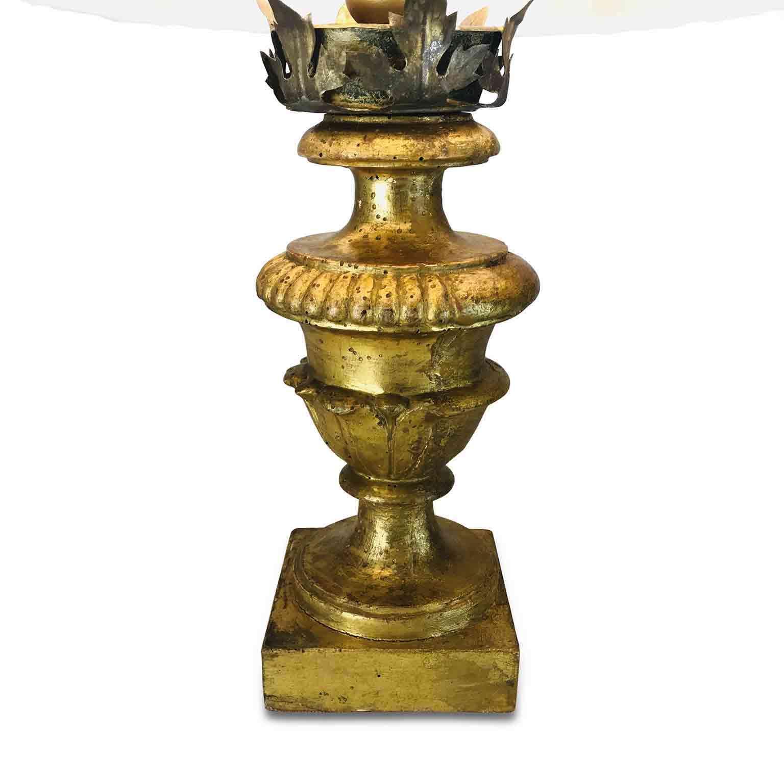 Coppia Di Portapalme Dorate Del 1800 Montate A Lampada