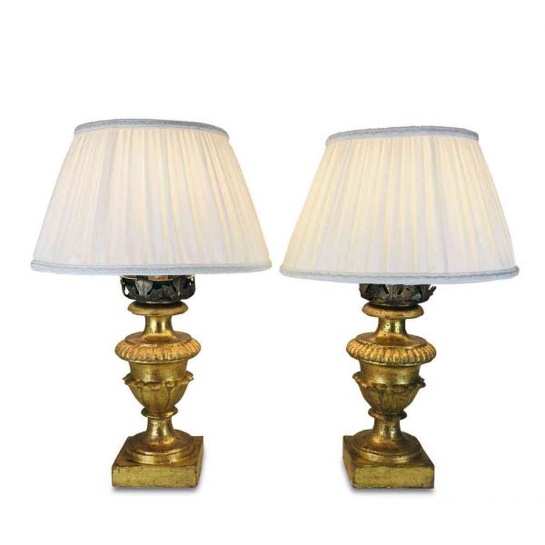 Early 19th Century Italian Table Lamps Carved Gilt-wood Circular Vases