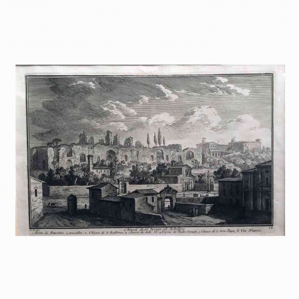 Five Italian Grand Tour Etchings Rome Views by Giuseppe Vasi 18th Century