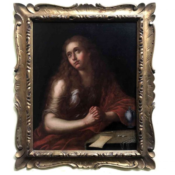 Italian Old  Master Penitent Magdalene 18th Century Oil Painting