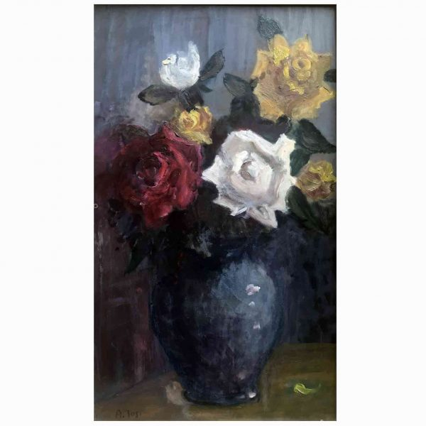 Arturo Tosi Italian Roses Still Life Painting 1953