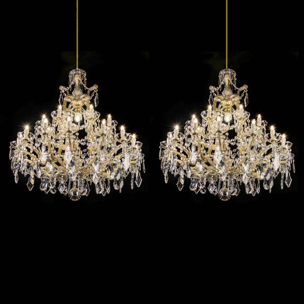 Pair of Italian Maria Theresa Twentyfive-light Crystal Chandeliers Mid-20th Century