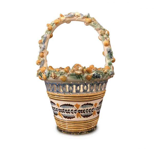 Italian Ceramic Handled Circular Basket mid-20th Century