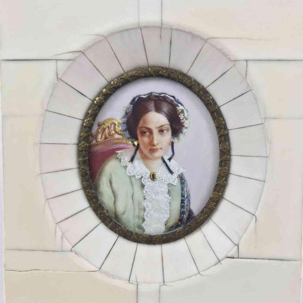 Miniatura Dipinta su Avorio Ritratto Femminile