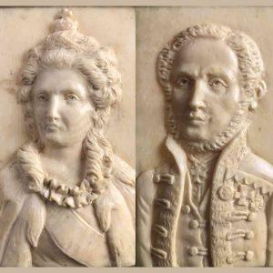 coppia di ritratti in bassorilievo d'avorio 1800