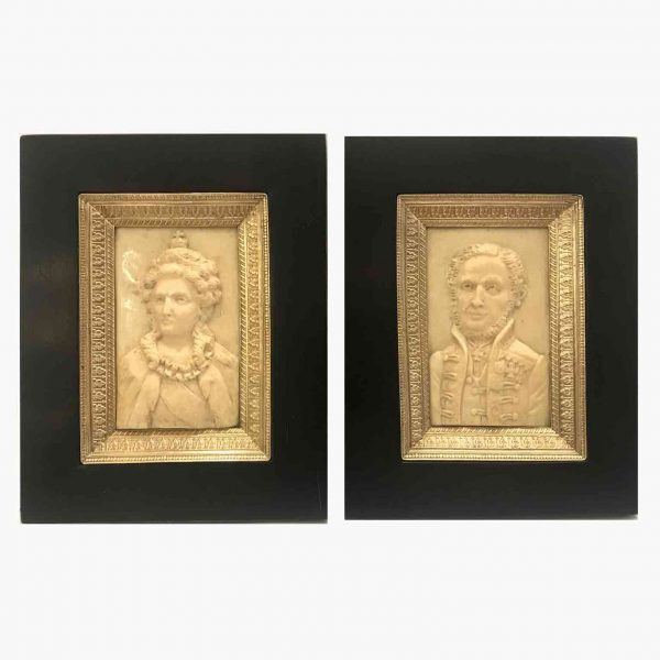 Pair of 19th Century Ivory Bas-relief Portraits