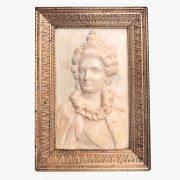 coppia di ritratti in bassorilievo d'avorio 1800 a