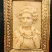 coppia di ritratti in bassorilievo d'avorio 1800 c